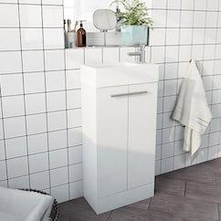 white basin storage unit