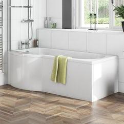acrylic bath with wooden bath panel