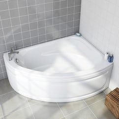 white corner bath