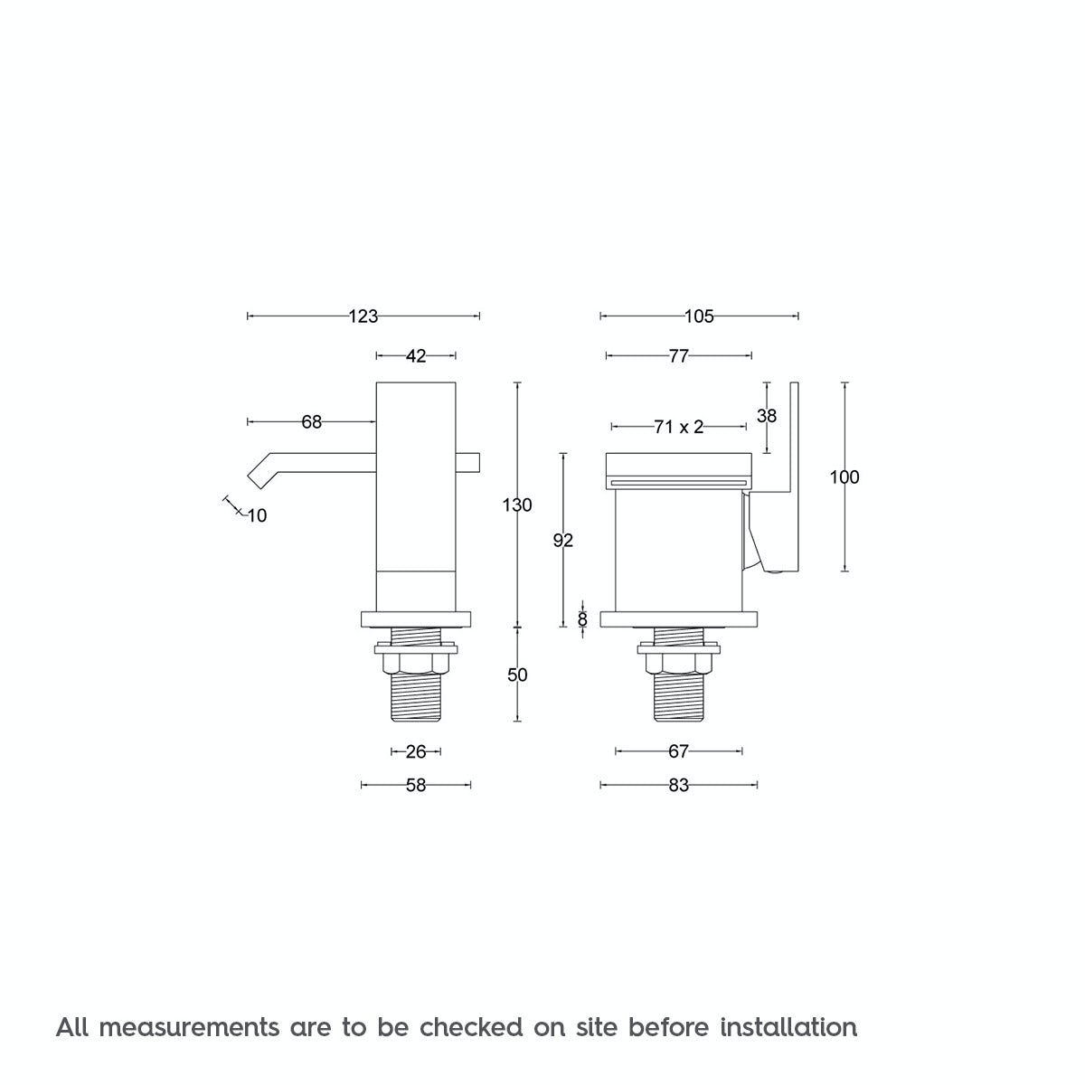 Dimensions for Mode Aurora basin mixer tap