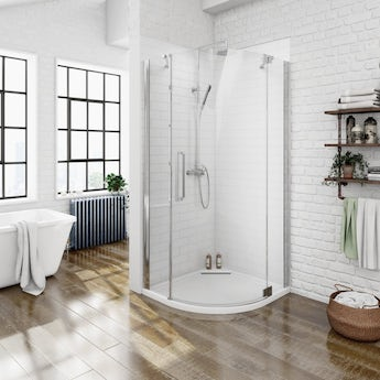 Luxury 8mm right handed frameless hinged door quadrant shower enclosure 800 x 800 offer pack