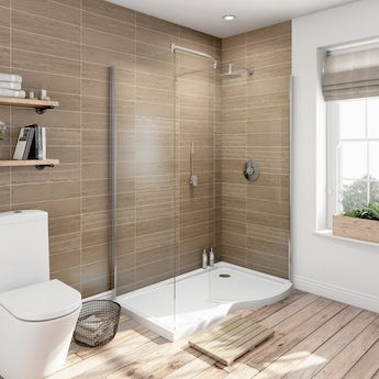6mm curved right handed walk in shower enclosure with tray 1400 x 900