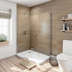 6mm curved left handed walk in shower enclosure with tray 1400 x 900