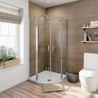 6mm frameless hinged quadrant shower enclosure 900 x 900 offer pack