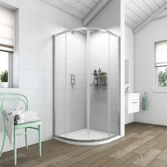 Clarity 6mm quadrant shower enclosure with shower tray