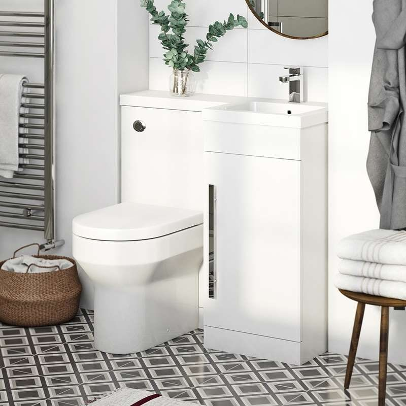 Myspace White right handed unit with contemporary back to wall toilet