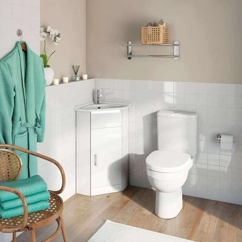 White cloakroom corner unit with Energy close coupled toilet