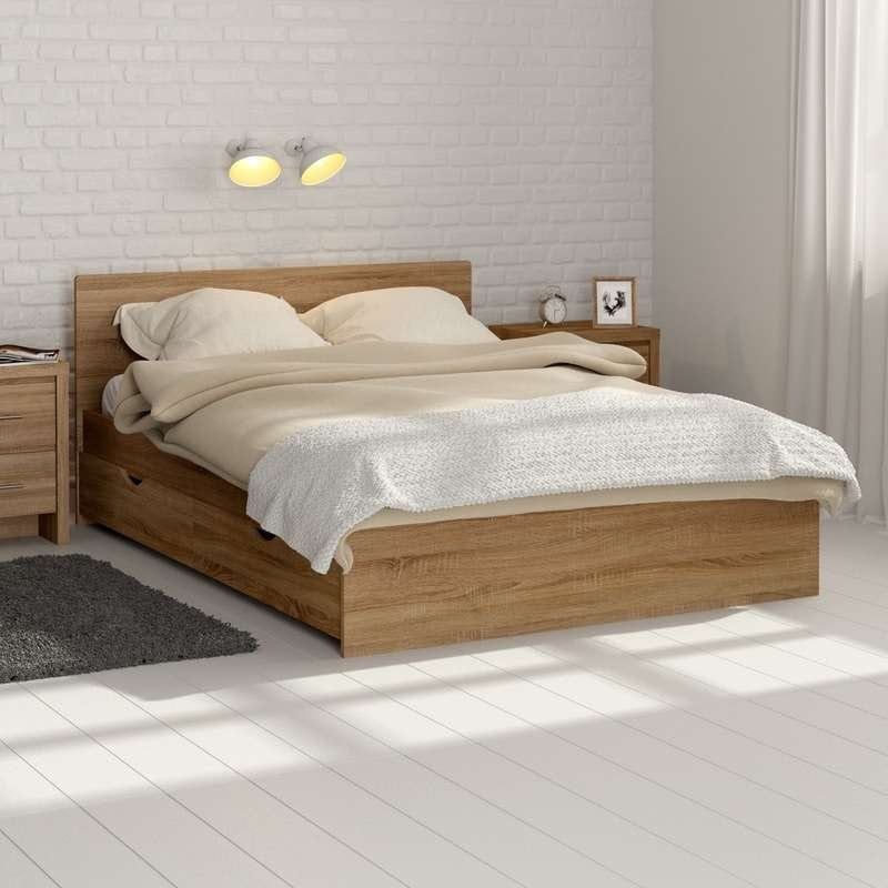 Oak double storage bed