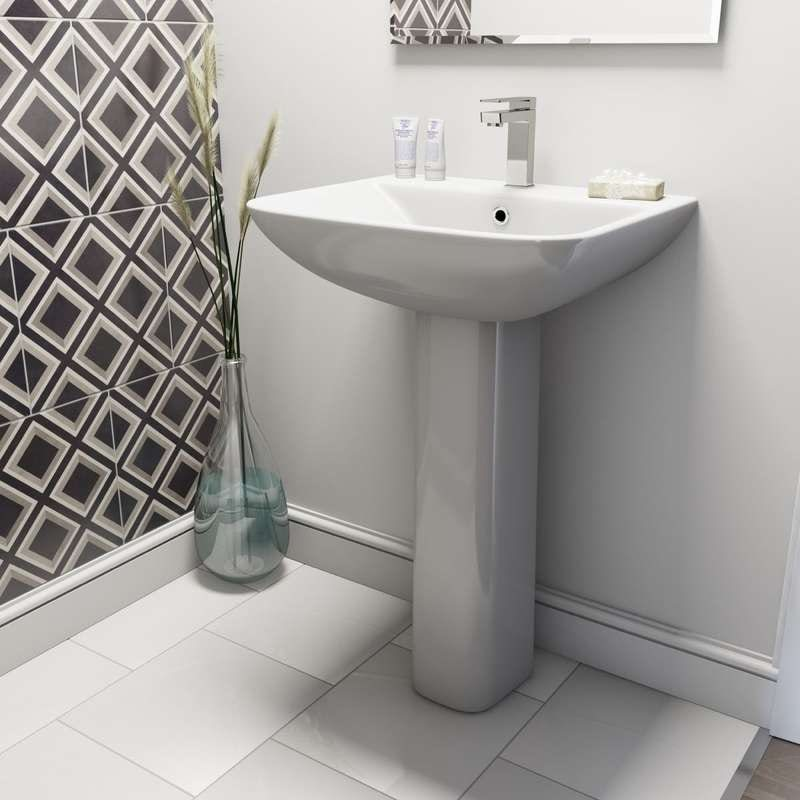 Derwent square 1 tap hole full pedestal basin 550mm
