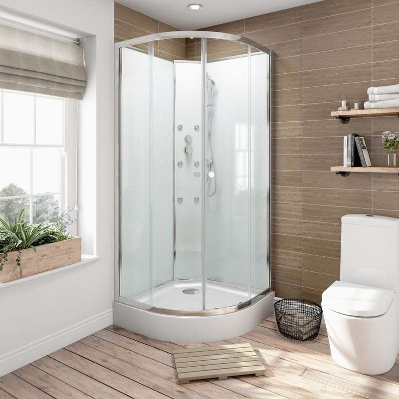Glass backed quadrant shower cabin