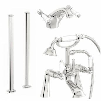 Antonio basin and freestanding bath shower mixer tap pack