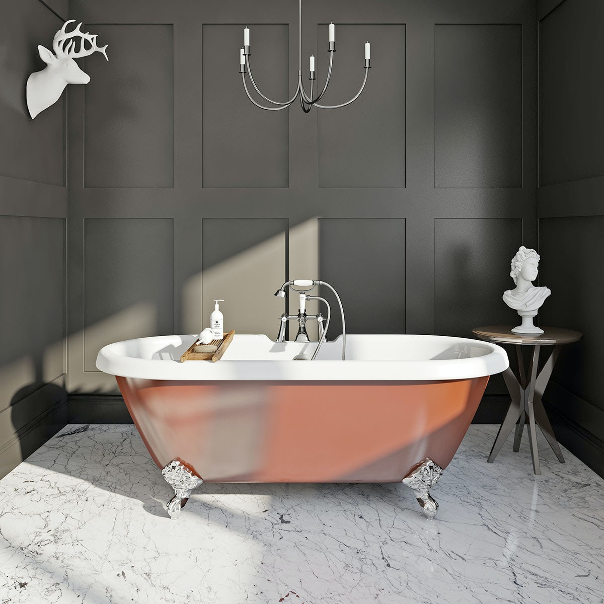 burnt copper coloured traditional bath