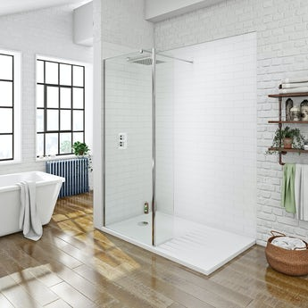 Mode luxury 8mm walk in shower glass panel with return panel and shower tray