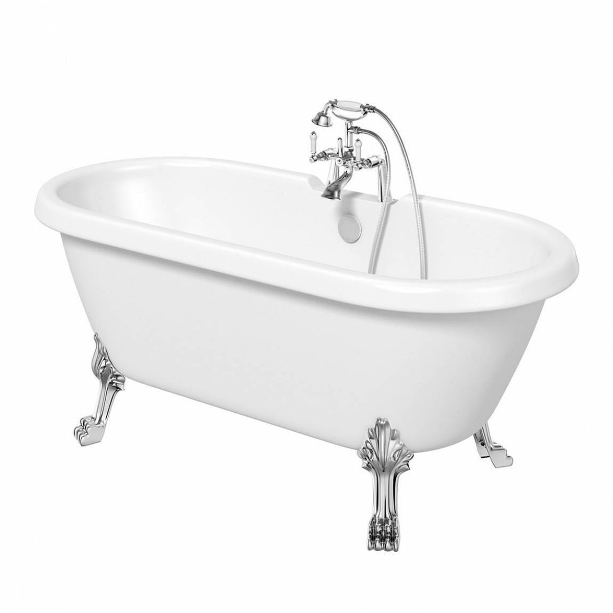 Shakespeare roll top bath small with dragon feet for Small baths 1200