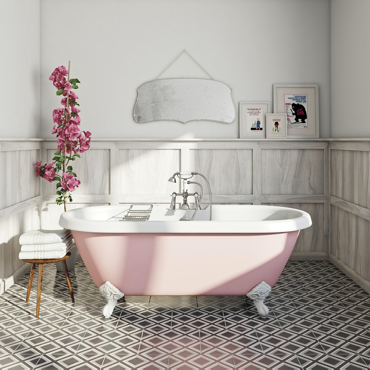 pink traditional bath