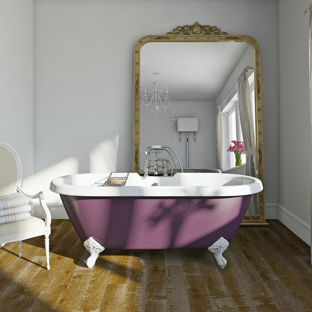purple traditional bath