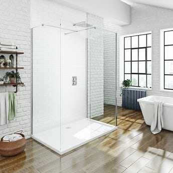 Mode luxury 8mm 3 sided walk in shower enclosure pack with shower tray 1700 x 900