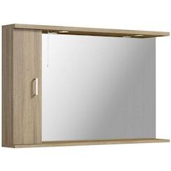 Sienna oak bathroom mirror with lights 1200mm