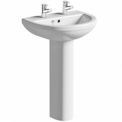 Oakley 2 tap hole full pedestal basin 500mm