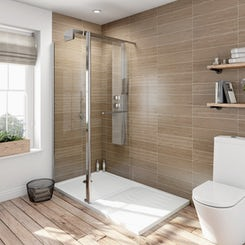 Complete walk in shower enclosure system with tray 1600 x 800