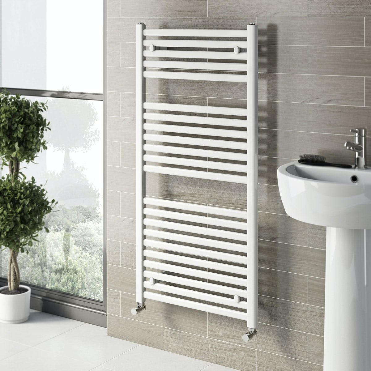 White Bathroom Radiators: White Heated Towel Rail 1200 X 600