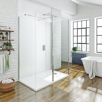 Luxury 8mm 3 sided walk in shower enclosure pack with shower tray offer pack