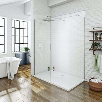 Mode luxury 8mm walk in shower enclosure pack with shower tray 1700 x 900