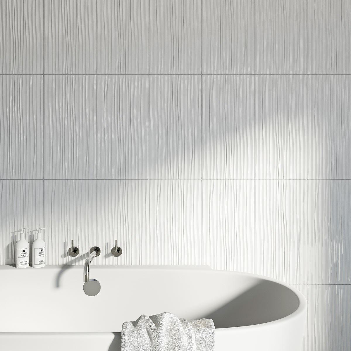 Pure White Wave Gloss Tile 248mm X 498mm Victoriaplum Com