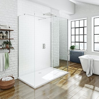 Mode luxury 8mm 3 sided walk in shower enclosure pack with shower tray 1800 x 900